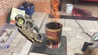 Fundir aluminio con horno casero - Haciendo puño americano 👊🏻