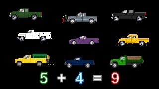 Vehicle Math - Addition 2 - With Trucks, Buses & Emergency Vehicles - The Kids' Picture Show