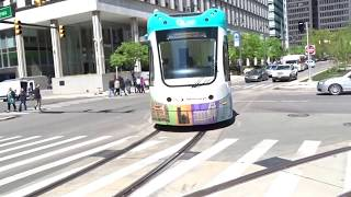 Detroit QLine LRV 288 Moving From Curb Lane To Congress Centre Stop