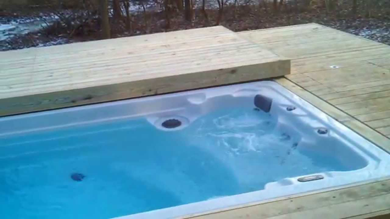 Motorized deck, pool/giant hot tub - YouTube