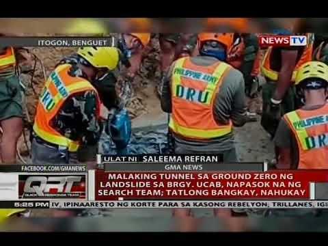Malaking tunnel sa ground zero ng landslide sa Itogon, napasok na ng search team; 3 bangkay, nahukay