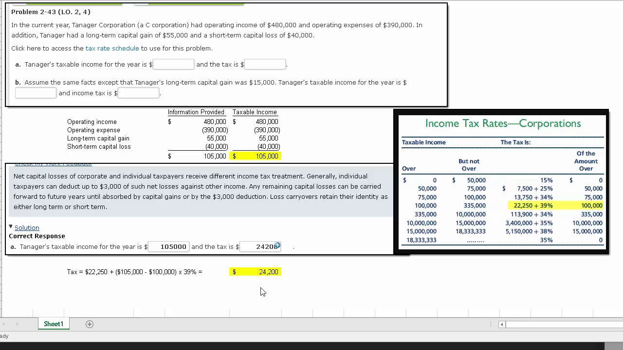 Calculating Corporate Taxable Income and Income Tax (P2-43 ...