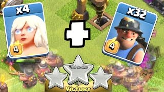 Clash Of Clans - 32 MINER w/ HEALER 3 STAR!! (Kings of clash!)