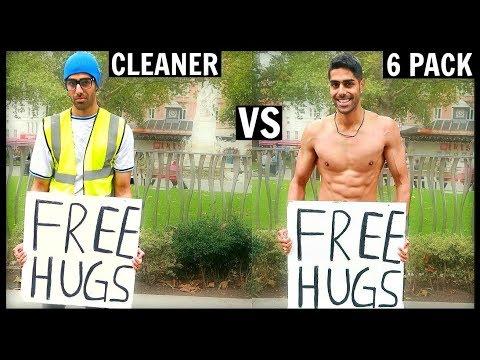 CLEANER vs 6 PACK Getting Free Hugs (SOCIAL EXPERIMENT)