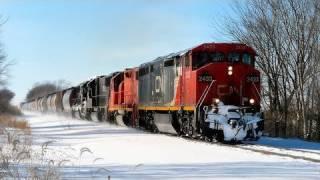 CN 2433 East, Approaching Burlington, Illinois on 2-8-2011