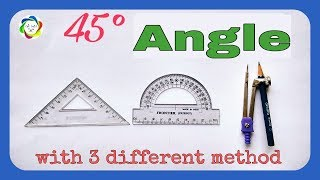 How to construct 45° angle || 45° का कोण कैसे बनाये|| Angle of 45 degree ||Geometry angle||