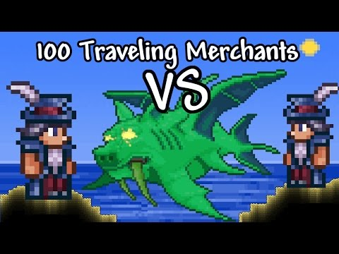 [Terraria] 100 Traveling Merchants vs Duke Fishron