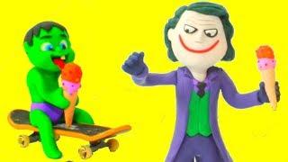 Superhero Hulk & Joker Cartoons ❤ Frozen Elsa Play Doh Cartoons & Stop Motion Videos For Kids