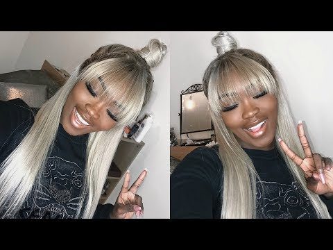 Half up/Half down Blonde Frontal Wig W/Fringe bang| HOW TO CUT BANGS WITH A FRONTAL WIG