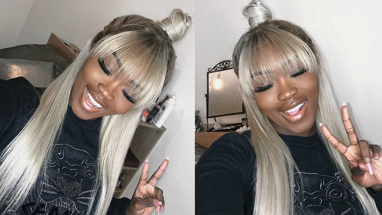 half up half down blonde frontal wig w fringe bang how to cut bangs