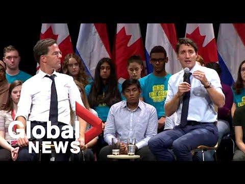 PM Justin Trudeau and Dutch PM Mark Rutte tackle question of marijuana legalization