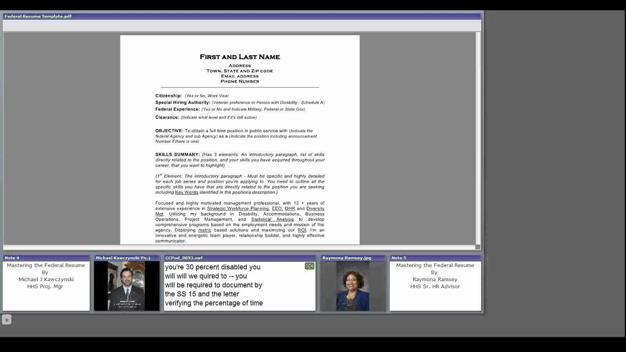 Developing your Federal Resume, Ramona Ramsey - YouTube