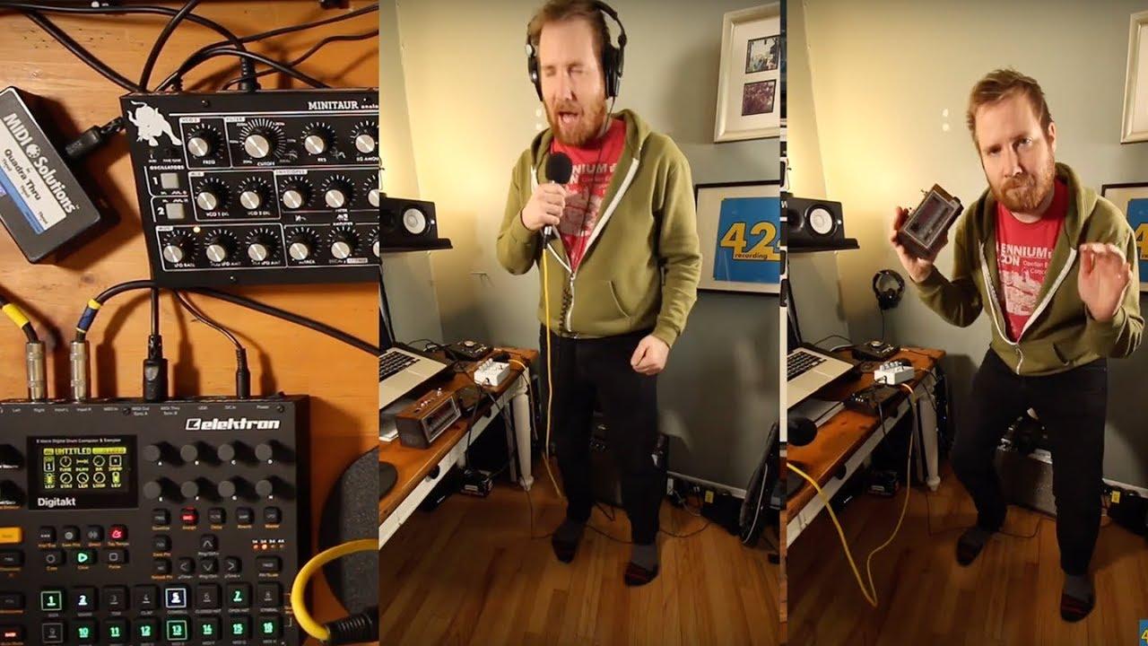 Making a Beat w/ Jay's Circuit Bent Alarm Clock & Digitakt |  424recording com
