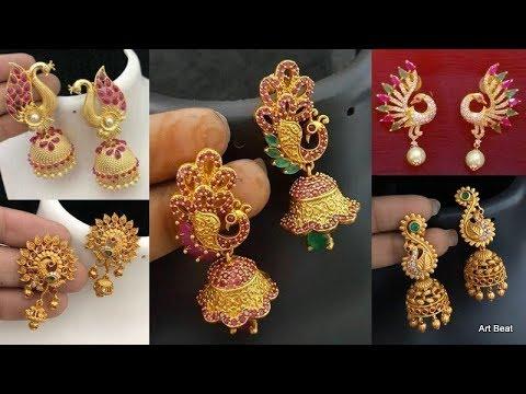 New Beautiful Designer Gold Earrings Designs - 1 gram Gold Peacock Design Earrings Collection