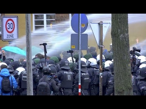 Police clash with protesters as far-right AfD meets in Hanover