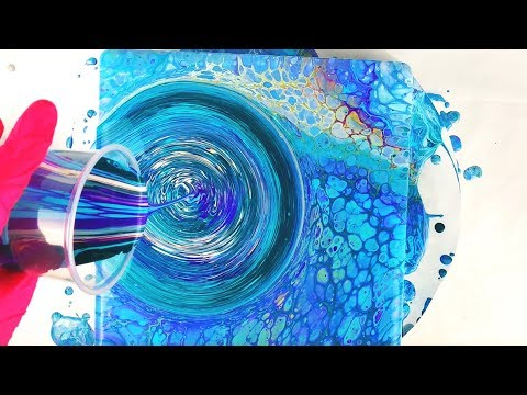 Acrylic Pouring EASY FLOW Paint Panel with Flip Cup Swirl POUR COMBO