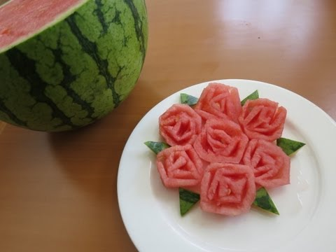 How to make Watermelon Roses !!! ( Promise Phan )