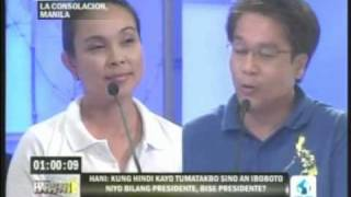 Sen. Mar Roxas questioned by Sen Loren Legarda in HARAPAN VP Debate 2010