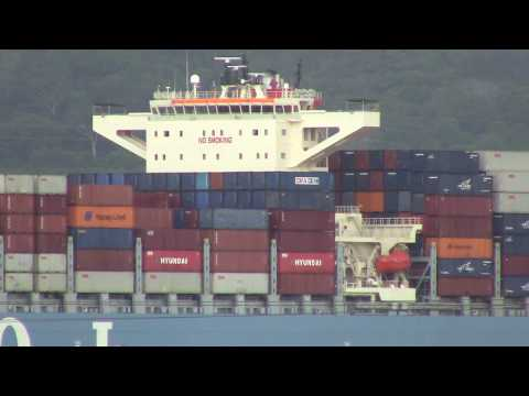 Container Ship MOL BENEFACTOR at Cocoli Approach Channal - Panama Canal (April 29, 2017)