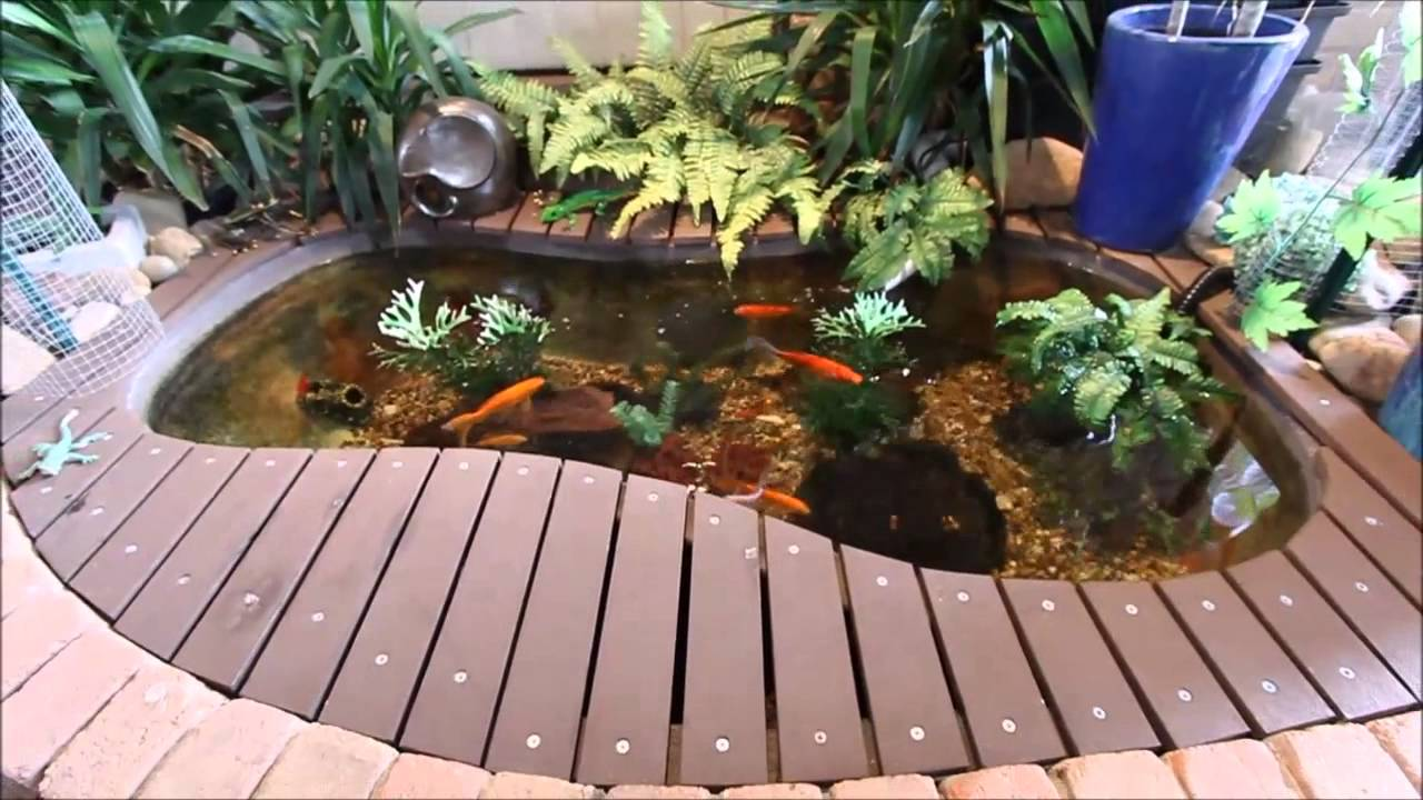 Diy goldfish pond using old bathtub update 4 youtube How to build a goldfish pond