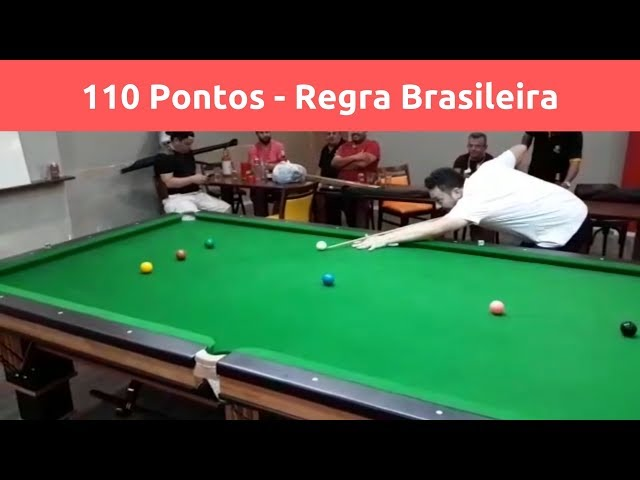 Sinuca Regra Brasileira - 110 pontos. Tacada máxima iniciando pelo 5