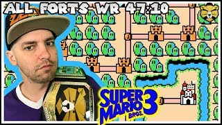 Super Mario Bros 3. All Forts World Record Speedrun in 47:10