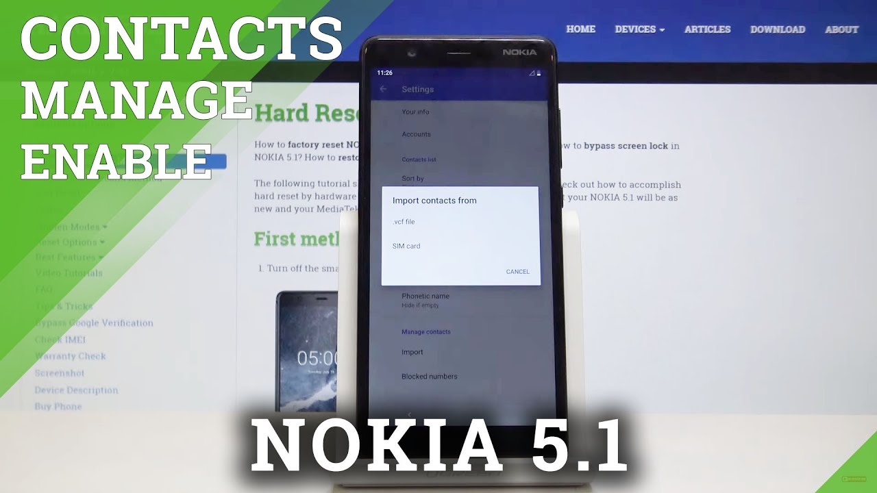 How to Transfer Contacts from SIM to NOKIA 5 1 - Import / Export Contacts