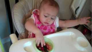 My 11 months old baby eats fruits by herself while my 3 years old eats and talk.