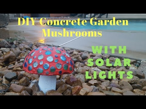 DIY Concrete Garden Mushrooms With Solar Lights