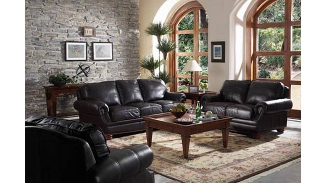 Living room ideas with black sofa youtube for Black front room furniture