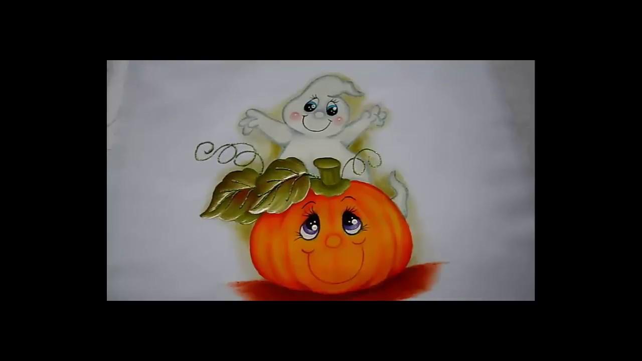 Pintura en tela halloween con fantasma y calabacita 1 - Motivos navidenos para pintar en tela ...