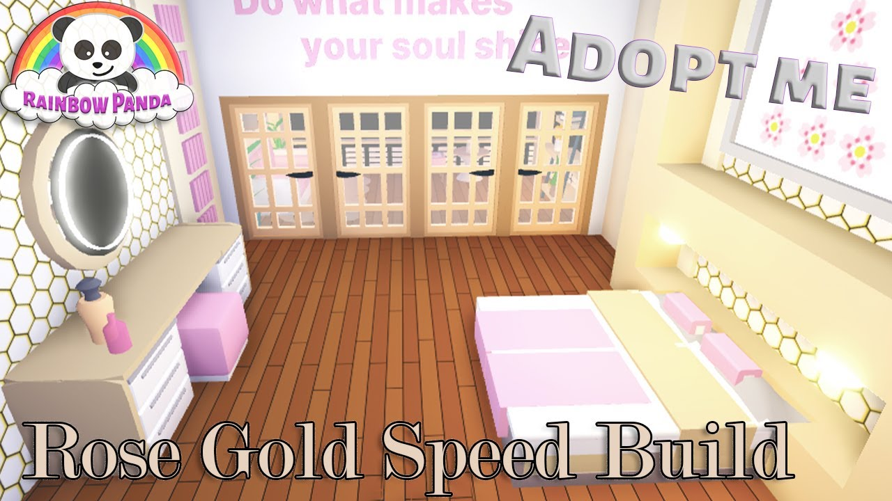 Adopt Me Speed Build 🏗- 🛌Rose Gold Bedroom & Balcony (Futuristic House)