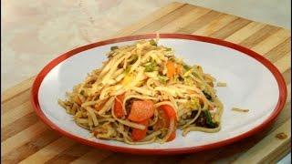 Jerk PASTA Linguine With Mix Vegetable Stir fry Jamaican Way