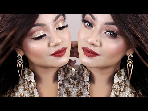Golden Glitter Cut Crease Makeup Tutorial