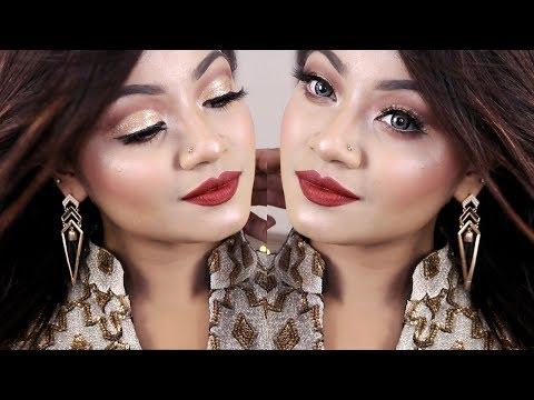 Golden Glitter Cut Crease Makeup Tutorial