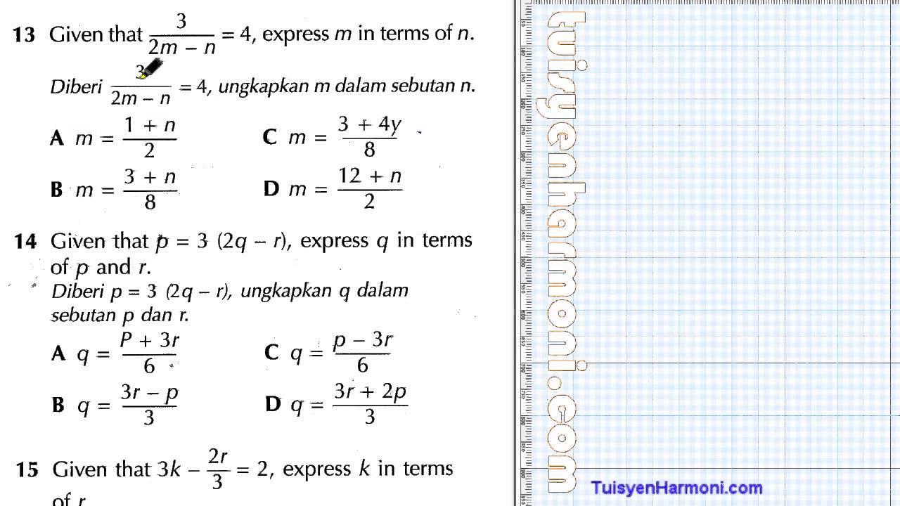 Contoh Soalan Matematik Pecahan Tahun 5 - Soalan 0