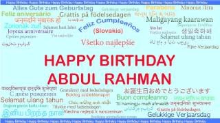 AbdulRahman   Languages Idiomas - Happy Birthday