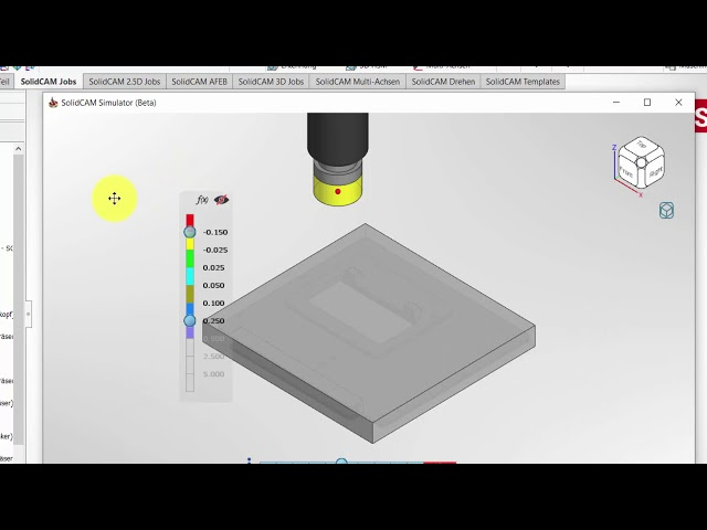 SolidCAM 2020 – Simulator Quickinfos Benutzeroberfläche