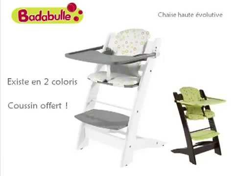 Oclio chaise haute volutive by badabulle youtube for Chaise haute combelle carole
