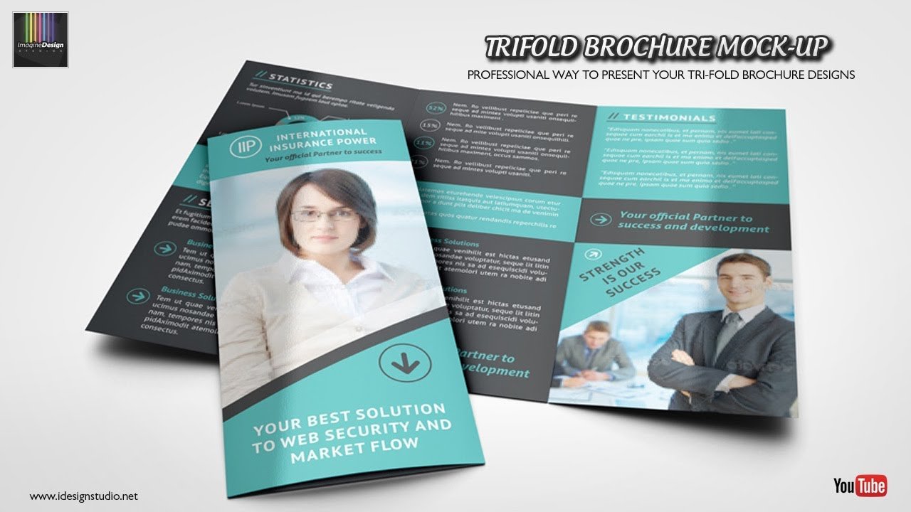 trifold brochure mock up youtube