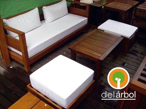 Livings de madera para jard n y exterior del for Muebles de madera para patio