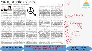 IAS Edge-Daily Newspaper Analysis-The Hindu+MCQs (14th August 2018)-: Eco Growth, Lateral Entry etc.