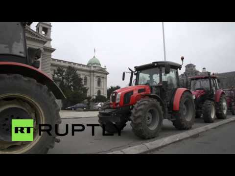 Serbia: Tractors roll through Belgrade to protest controversial farming bill
