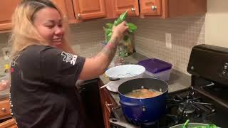 Cooking fried chicken fried rib tips and snow pea leaves