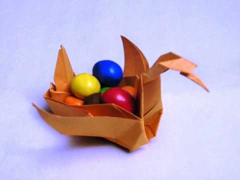 How To Make Ku Kus Dads Origami Basket Swan Youtube