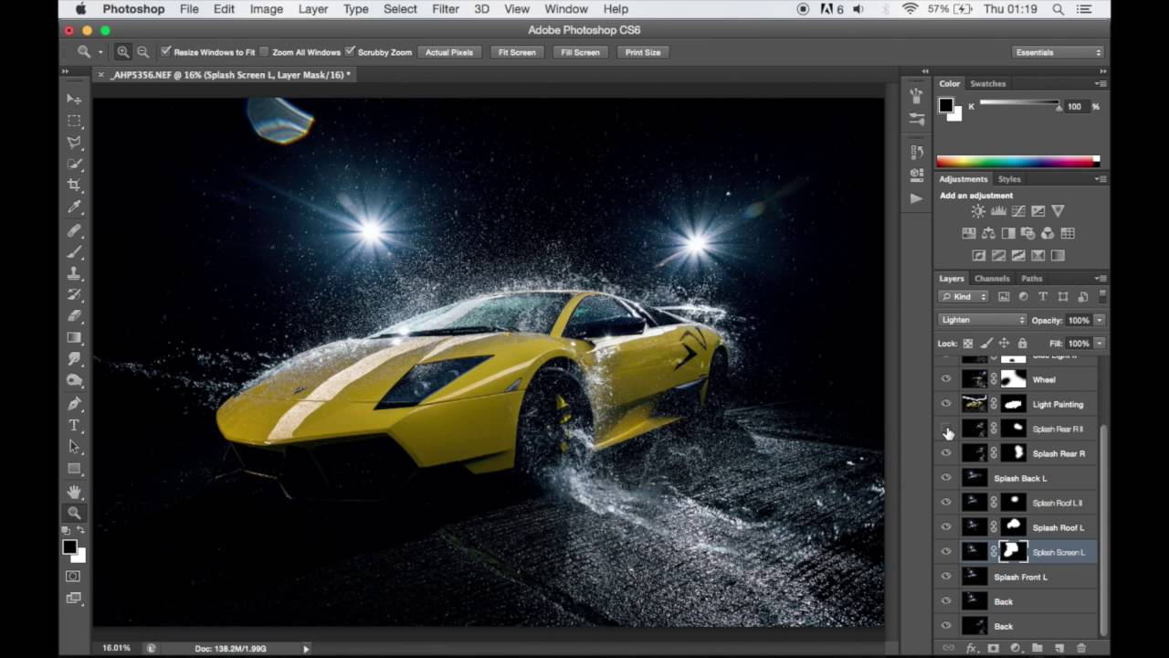 Awesome Editing A Lamborghini Murcielago SV Water Splash Photo
