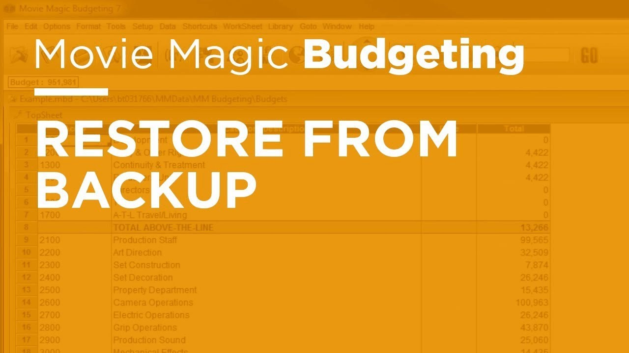 movie magic budgeting restore from backup youtube