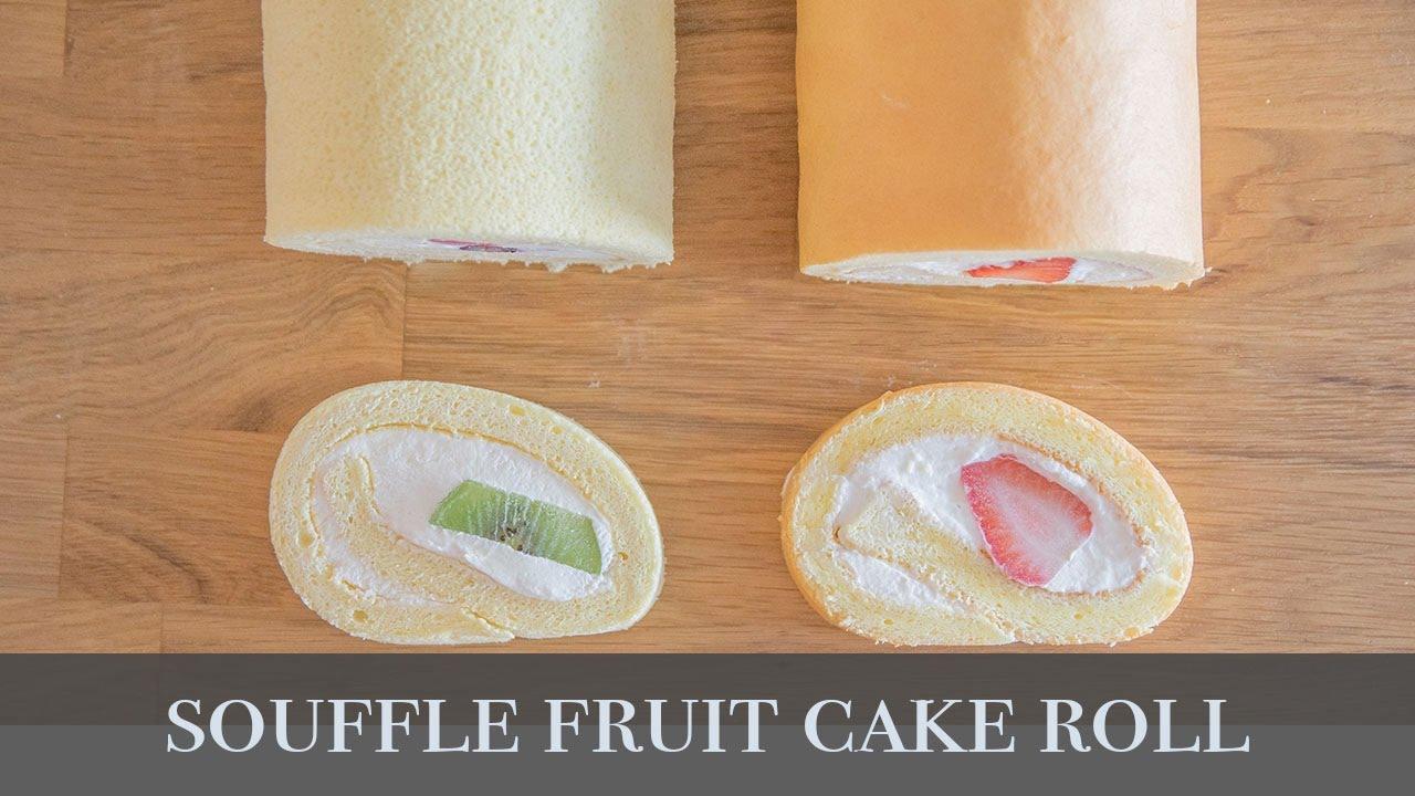 舒芙蕾水果生乳捲 Souffle Cake Roll with Fruits (燙麵法蛋糕捲/黃金戚風做法) - YouTube