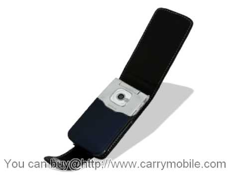 Carrymobile Leather Case for Nokia 7510 - Flip Type (Black) Ver. 1