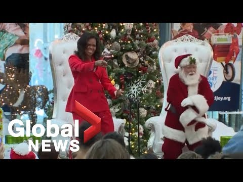 Michelle Obama dances with Santa during visit to Colorado childrens hospital